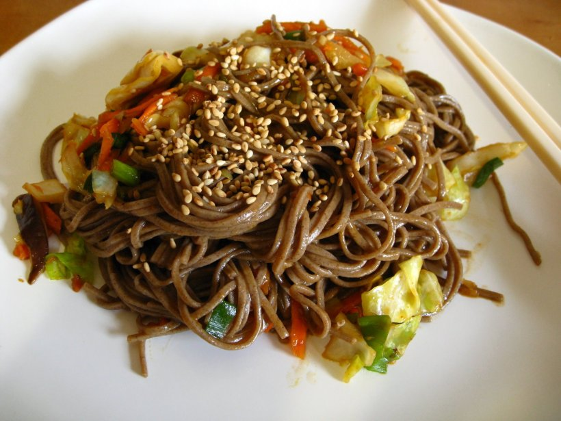 soba with shiitake and cabbage