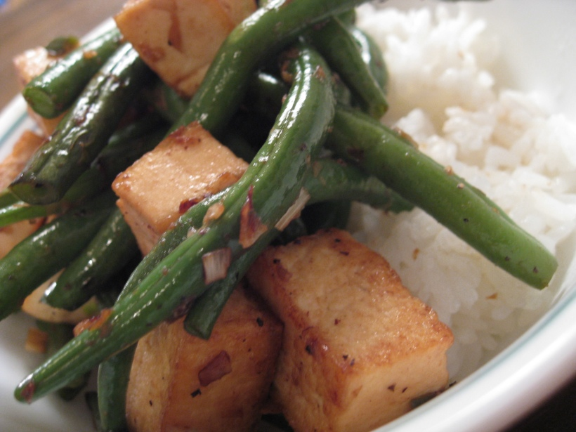 Lemongrass green beans and tofu