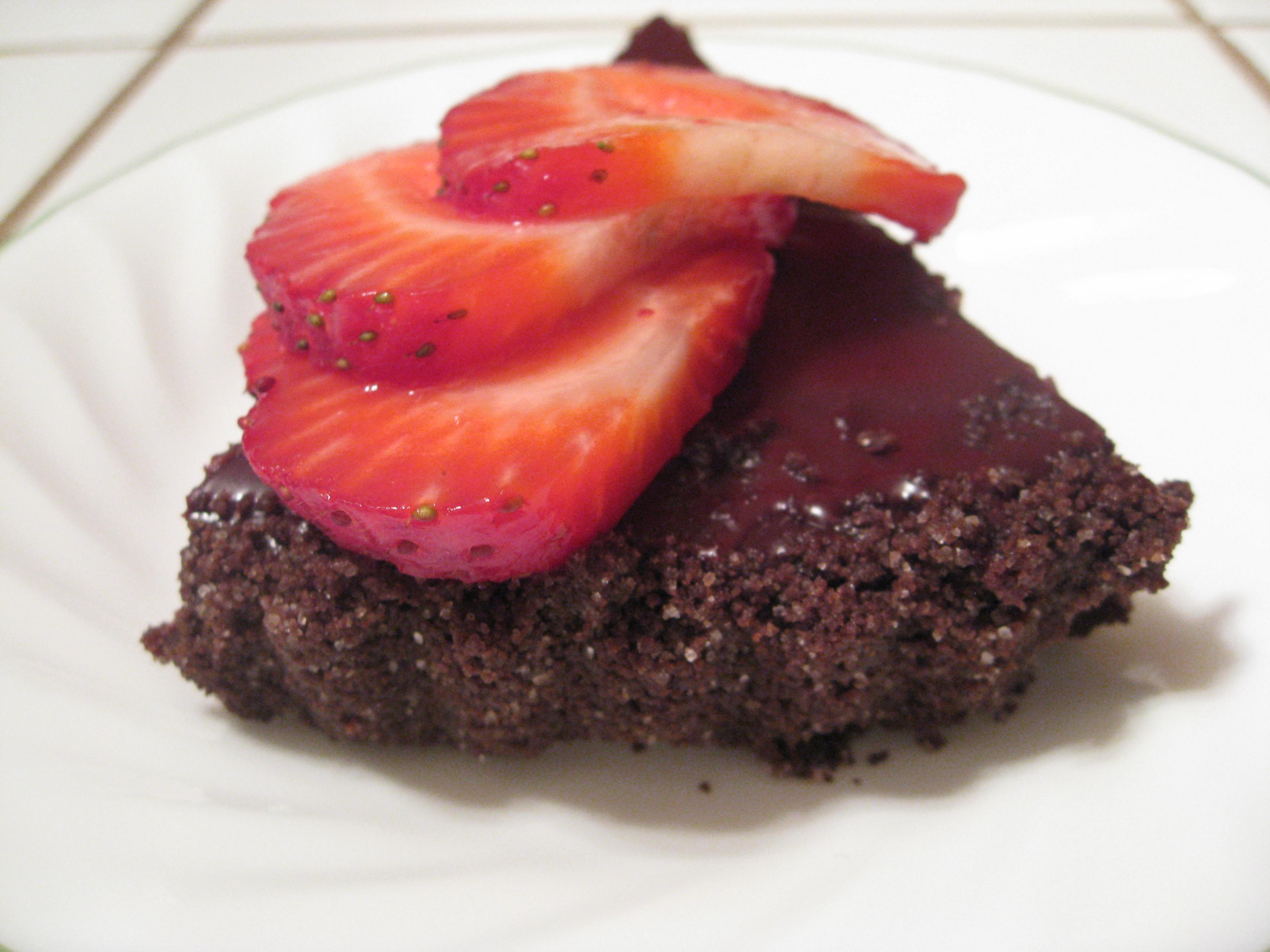 Chocolate Glazed Chocolate Tart with Strawberries