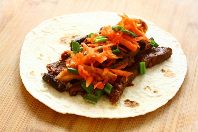 korean steak & mushroom tacos with kimchi | doughseedough.net