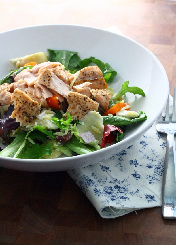 Mediterranean Salmon Salad with Artichokes, Feta, and Orzo   doughseedough.net