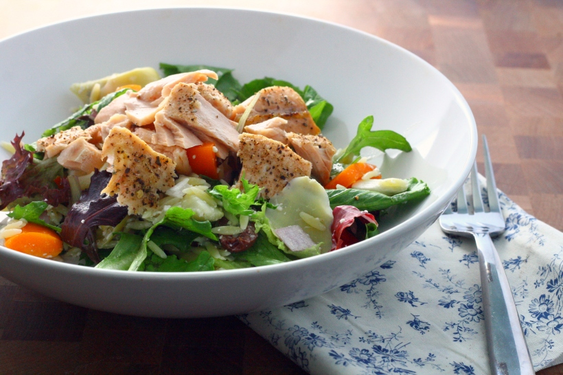 Mediterranean Salmon Salad with Feta, Artichoke Hearts and Orzo | doughseedough.net