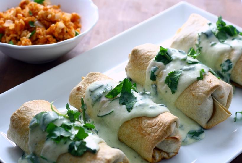 baked beef & bean burritos with creamy poblano sauce | doughseedough.net