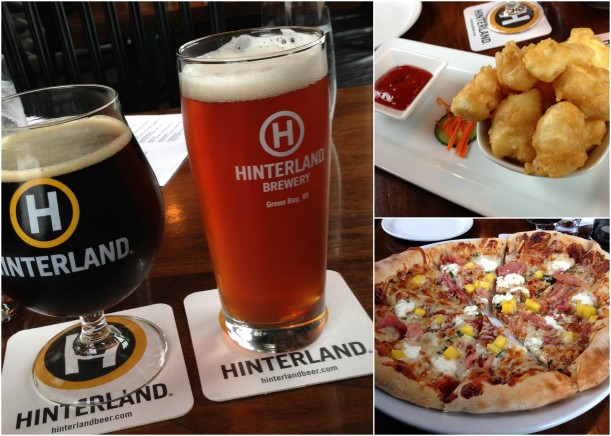 hinterland beer, goat cheese curds, smoked chicken pizza