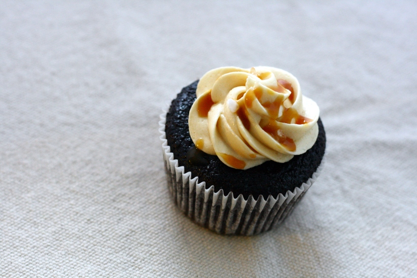 Chocolate Stout Cupcakes with Salted Caramel Frosting  | doughseedough.net