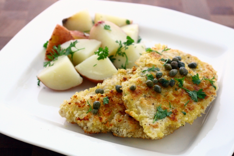 Panko-Coated Chicken Schnitzel with Parsley Potatoes | doughseedough.net
