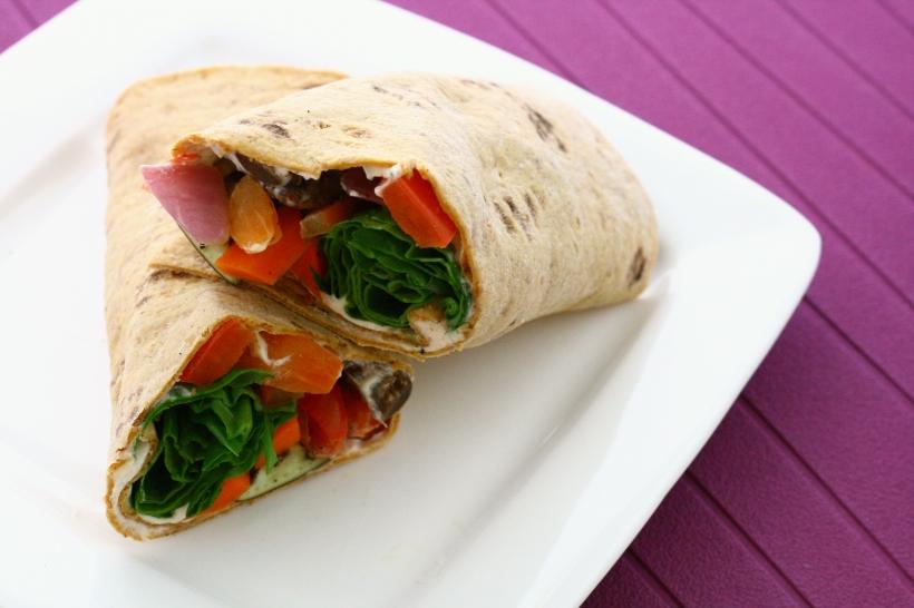Roasted Veggie Wraps with Goat Cheese Yogurt Spread | doughseedough.net