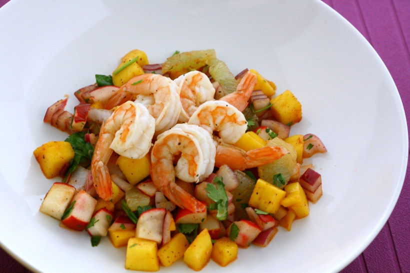 Shrimp with Mango, Lime and Radish Salsa | doughseedough.net