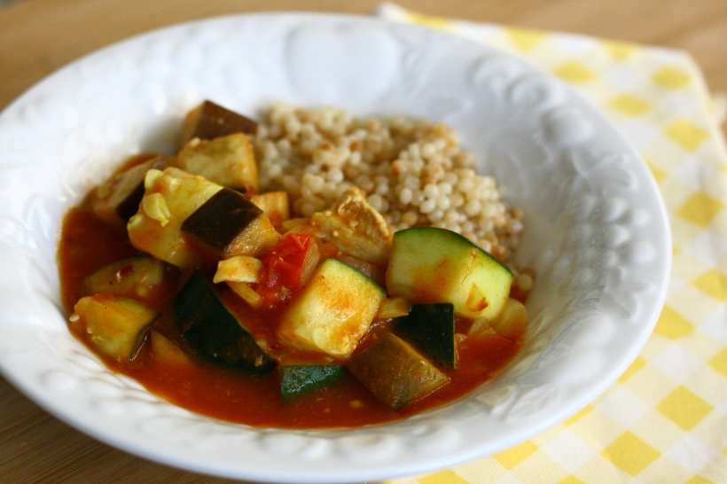 Curried Chicken with Zucchini and Eggplant over Couscous | doughseedough.net