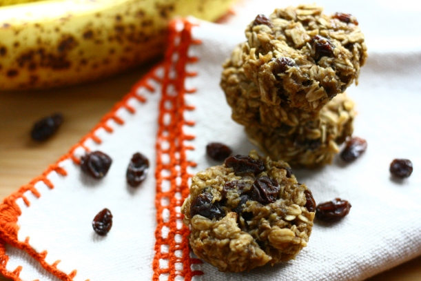 healthy 4 ingredient banana oatmeal cookies | doughseedough.net