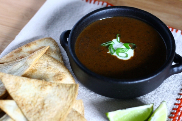 spicy black bean soup with cumin lime sour cream | doughseedough.net