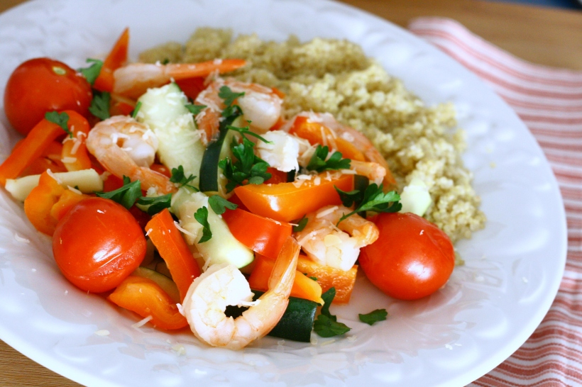 Shrimp and Vegetables in Lemon-Garlic Sauce | doughseedough.net