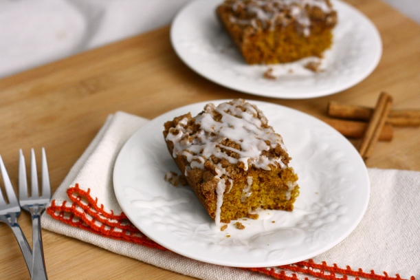 Vegan Iced Pumpkin Coffee Cake with Streusel Topping | doughseedough.net