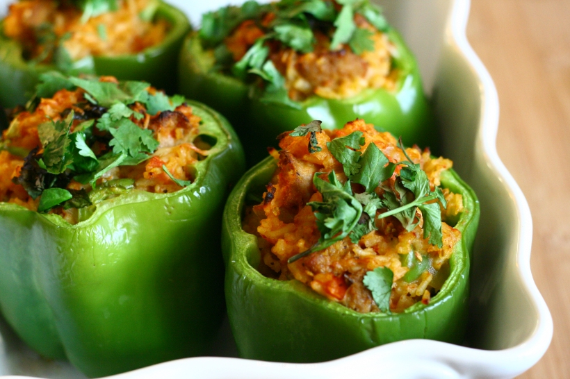 Turkey Sausage Stuffed Bell Peppers | doughseedough.net