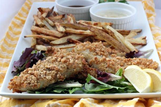 baked fish and chips {dairy free} | doughseedough.net