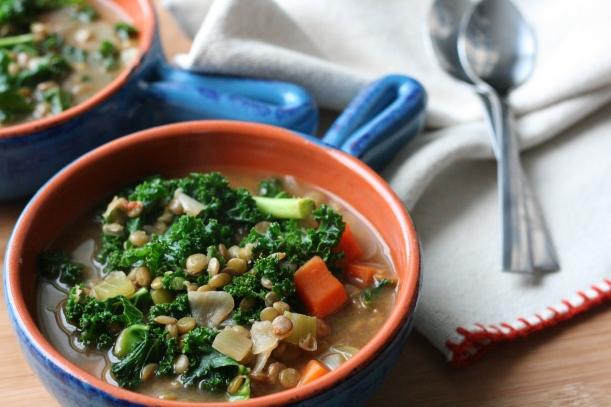 Vegan Lentil & Kale Soup | doughseedough.net