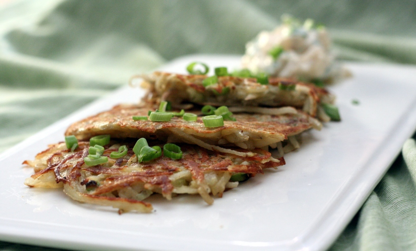Potato Pancakes with Ginger-Apple Scallion Cream | doughseedough.net