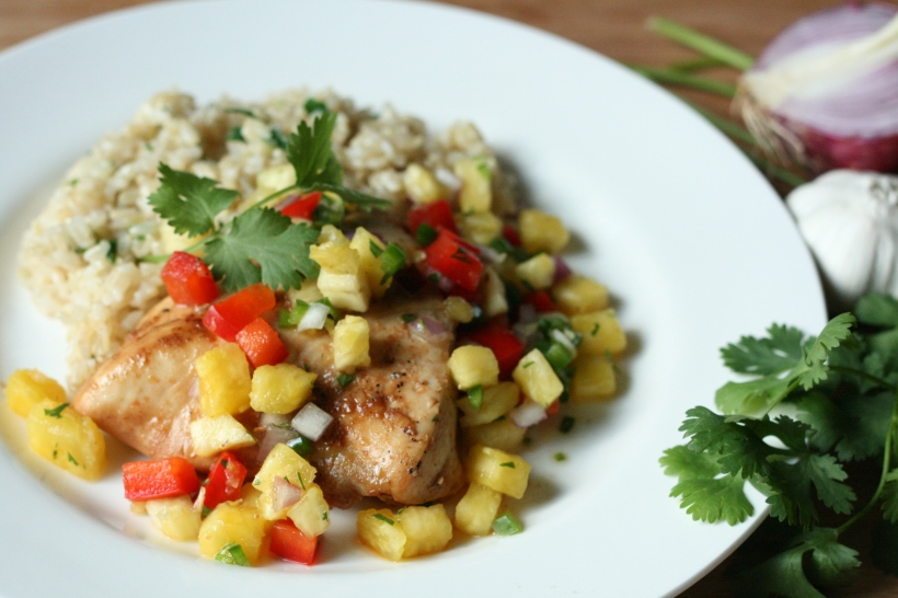 Pineapple Chicken with Fresh Pineapple Salsa and Cilantro Rice | doughseedough.net