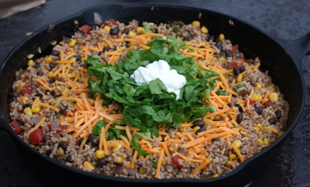 Turkey & Rice Taco Skillet {camping meal} | doughseedough.net