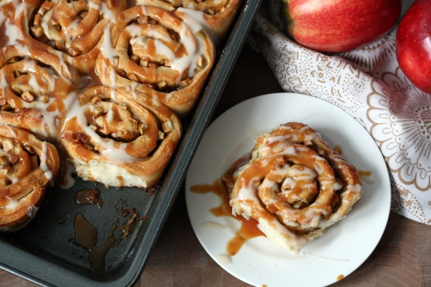 Caramel Apple Cinnamon Rolls with Bourbon Glaze | doughseedough.net