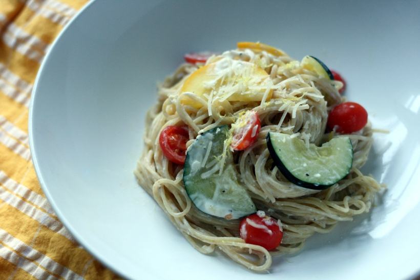 Pasta with Zucchini and Tomatoes in Lemon-Yogurt Sauce | doughseedough.net
