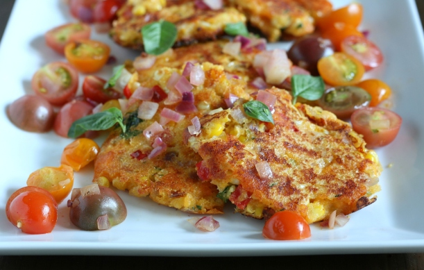 Cheesy Sweet Corn Fritters with Sauteed Tomatoes | doughseedough.net