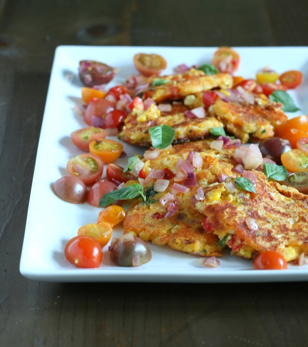 Cheesy Sweet Corn Fritters with Sauteed Tomatoes | doughseedough.net